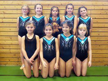 Turnerinnen der Scheffelschule 2018 bei Jugend trainiert für Olympia